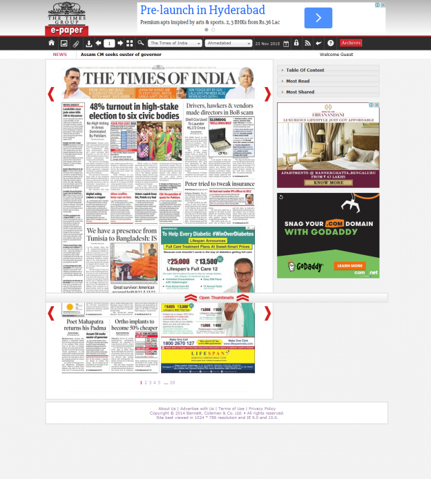 Times of India ePaper powered by Pressmart
